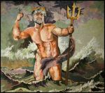 The Wrath of Poseidon art quilt by Marilyn Belford